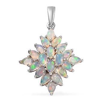Opal Cluster Pendant for Women Sterling Silver Platinum Plated, 3 Ct TJC