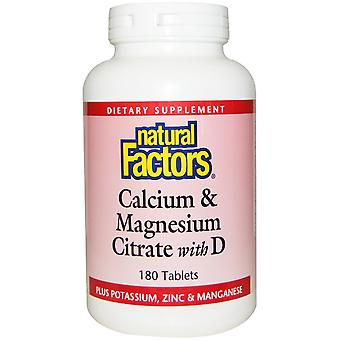 Natural Factors, Calcium & Magnesium Citrate with D, 180 Tablets