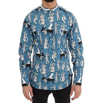 حلو & الأزرق غابانا الجاز القطن طباعة عادية قميص-TSH1873968