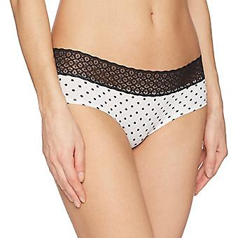 Brand - Mae Women's Lace Waistband Cotton Hipster Panty, 3 Pack, Blac...