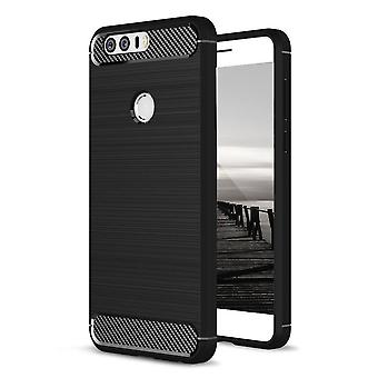 Shell for Huawei Honor 8 Carbon Fiber Armor Case Protection TPU Black