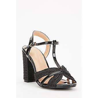 Plaited T-Strap Block Heels
