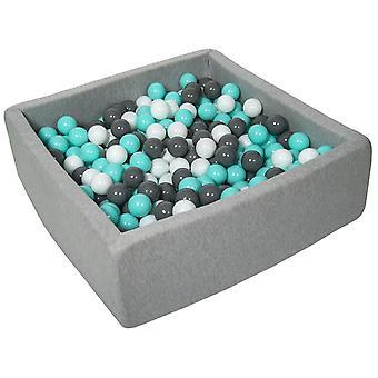 Hoyo de bola cuadrada 90x90 cm con 450 bolas blancas, grises y turquesas