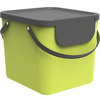 Rotho Albula Sistema de Separación de Residuos 40l para cocina, plástico (PP) libre de BPA, verde claro/antracita, 40l (40.0 x 35.8 x 34.0 cm)