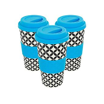 Reusable Coffee Cups - Bamboo Fibre Travel Mugs with Silicone Lid, Sleeve - 400ml (14oz) - Circles - Blue - Pack of 3