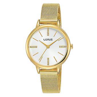 Lorus Damen weißes Zifferblatt mit leichten Gold Kleid Mesh Armband Uhr (RG214QX9)