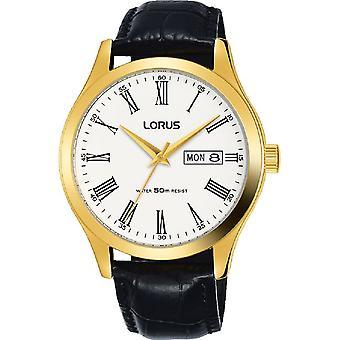 Lorus Męski wyściełane czarny skórzany pasek złoty case dress zegarek (nr modelu RXN54DX9)