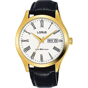 Lorus Mens Padded Black Leather Strap Gold Case Dress Watch (Model No. RXN54DX9)