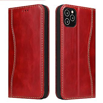 Voor iPhone 12 Pro Max Case Red Genuine Cowhide Leather Wallet Cover