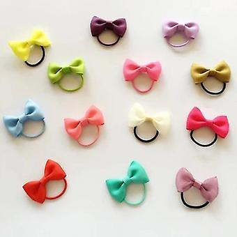 Colorful Baby Girl Elastic Hair Bands Ribbon Bows Kids Rope Accessories Headwear