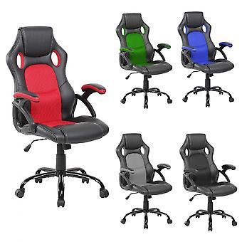 Rebecca Furniture Office Chair Fauteuil noir cuir rouge comme nylon 120x66x63