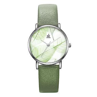 SHENGKE SK K0108 الربيع اليشم الأخضر الأخضر الهدوء البني ورقة الطلب أزياء الجلود حزام