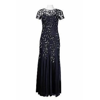 Short Sleeve Metallic Leaf Pattern Long Dress
