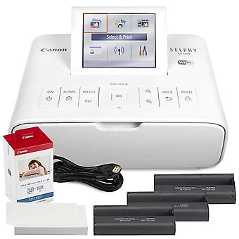 Canon selphy cp1300 compact photo printer (white) with wifi and accessory bundle w/ canon color ink and paper set ps70803