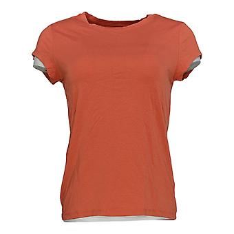 Anybody Women's Top Cozy Knit Shrunken Boyfriend Tee Orange A378607