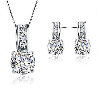 925 Sterling Silver Cubic Zircon Pendant  Necklace/earring Women Jewelry Sets