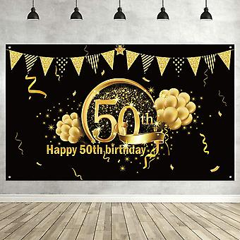 50Th birthday black gold party decoration, extra large fabric black gold sign poster for 50th annive wof0173759601737