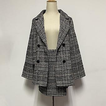 Autumn Women's Costumes Two Piece Set, Plaid Blazer Suit, Pencil Short Skirt