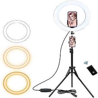 Selfie ring light with tripod stand and phone holder for live stream