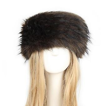 Women Natural Thicken Fluffy Fur Hat Headband Winter Warm Caps