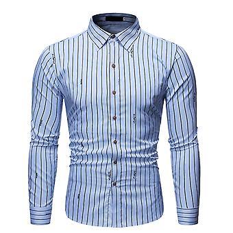 YANGFAN Men's Listras Verticais Estampadas Camisa de manga comprida