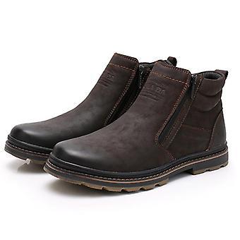 الشتاء، أحذية الكاحل الثلج، أحذية العمل اليدوية في الهواء الطلق والرجال نمط خمر