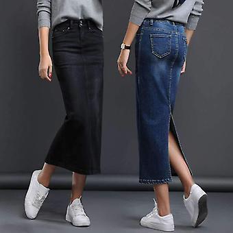 Mulher Jeans Longo Split High Waist Lavado Saia