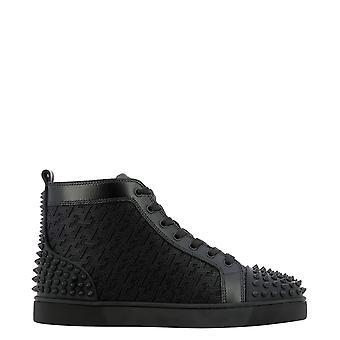 Christian Louboutin 1210802b026 Men's Black Cotton Hi Top Sneakers