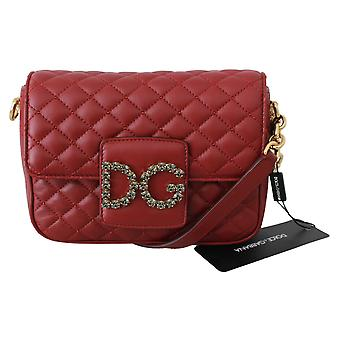 Red Quilted Leather Crystals Purse MILLENNIALS Bag