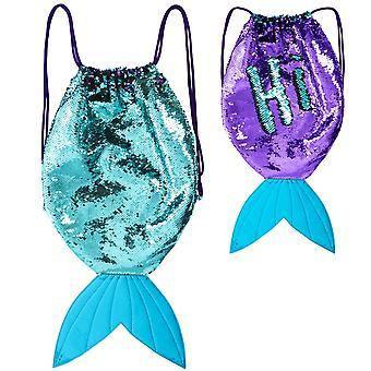 Girlzone: cauda sereia cauda reversível saco de mochila de corda para meninas, ótimos presentes para meninas