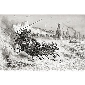 Samoyeds From Caborova Russia On A Sleigh Pulled By Reindeer In The 19Th Century From El Mundo En La Mano Published 1878 PosterPrint
