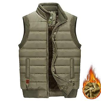 Mens Jacket Sleeveless, Vest Winter Fleece, Warm Coats, Stand Collar Army