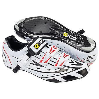 Eigo Sigma Carbon Sole Road Shoe With Ratchet And Velcro Closure - White
