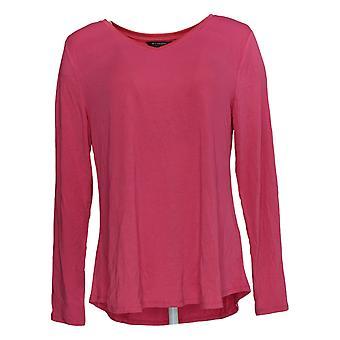 H Door Halston Women's Top Essentials V-Neck Long Sleeve Pink A345773