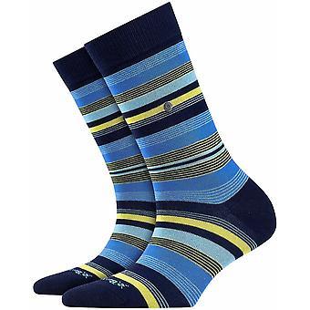 Burlington Stripe Sokken - Marine Navy/Blauw
