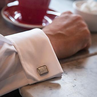 Fred Bennett Stainless Steel White Mother of Pearl Cufflink