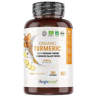 Turmeric Capsules 1520mg. 180 Capsules (3 Month Supply) with Organic Turmeric, Black Pepper and Ginger - For Joints, Skin & Wellbeing