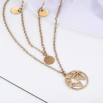 Gold Double Layered World Map Necklace
