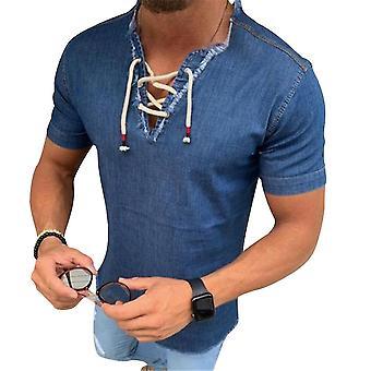 Mannen's zomer effen kleur drawstring korte mouw T-shirt