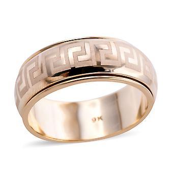 9K geelgoud grieks sleutelontwerp spinner ring