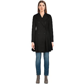 Chic Star Suede Trench Coat In Black