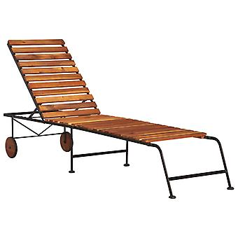 Sun Lounger With Steel Legs Solid Acacia Wood