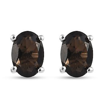 TJC Brown Quartz Stud Earrings in Platinum Plated Silver Gift for Her 1.41ct