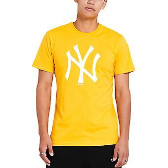 ニューエラ メンズ ニューヨーク ヤンキース シーズンチーム クルー ネック Tシャツ ティートップ - イエロー