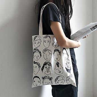 Illustration Canvas Bag, Personality Students' Supply, Zipper, Convenient