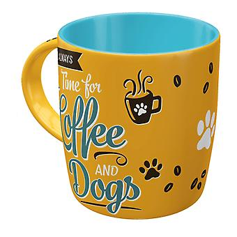 It's Always Time For Coffee And Dogs Vintage Design Mug
