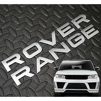 RANGE ROVER Matt Silver Lettering Badge Emblem Front Or Rear For Vogue Sport Evoque