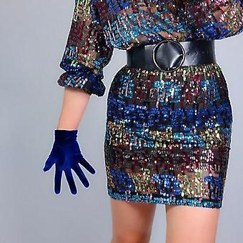 Velvet Gloves, Winter Short High Elastic Dress Gloves
