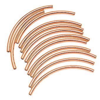 النحاس مطلي منحني أنبوب المعكرونة الخرز 2mm × 38mm (12)