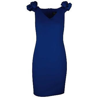 Frank Lyman Blue Short Sleeve Floral Shoulder Dress